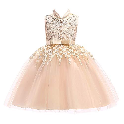 Dsood Bow Dresser Knobs,Children Kid Girl Bowknot Flower Print Princess Sleeveless Formal Clothes Dresss,Baby Girls' Dresses, 2019, 5T Yellow (Knob Flower Design Petal)