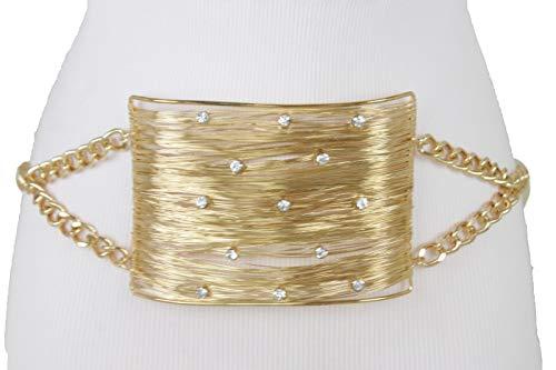 Gold Belt Bling Buckle (TFJ Women Fashion Belt Hip Gold Metal Chain Elegant Fancy Square Bling Buckle Size XS S M)