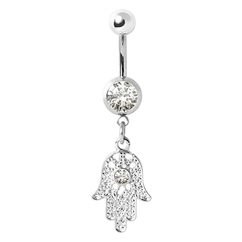 316L Navel Ring with Clear Gemmed Hamsa Amulet
