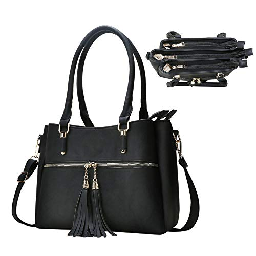(Handbag Shoulder Leather Purse Top Handle Satchel Pocket Zipper Tassel Bag for Women (black))