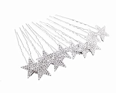 yueton 10pcs Bling Rhinestone Star Wedding Bridal Crystal Hair Pins Clips Women Headwear Hair Accessories