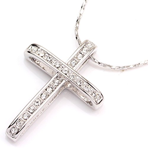 FANCY COLLECTION White Gold Plated Cross Pendant Swarovski Element Crystal Necklace