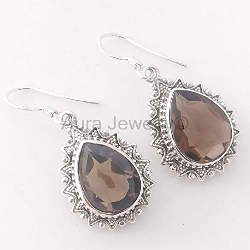 (Natural Smoky Quartz Earrings, Solid 925 Sterling Silver Drop & Dangle Earrings for Girls & Womens Mothers Day Gift Jewelry Handmade)