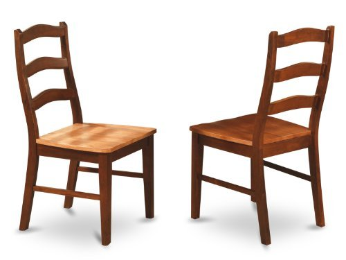 East West Furniture HEC-BRN-W Ladder Back Chair Set with Wood Seat, Set of 2
