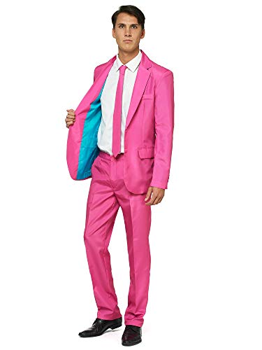 OFFSTREAM Plain Colored Suits for Men - Costumes Include Jacket Pants and Tie, Plain Pink, Large