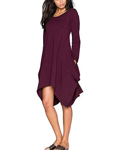 Kasen Donna Vestito Plus Size Tinta Unita Manica Lunga Orlo Irregolare Abito Corto Vestiti Viola