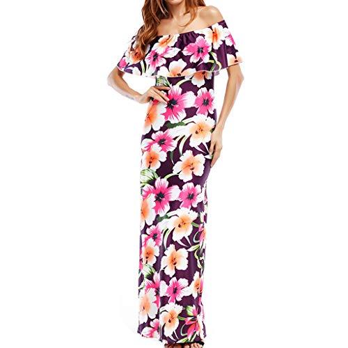 Sunhusing Elegant Ladies Sexy Pleated Off-Shoulder Short Sleeve Floral Print Slim Bag Hip Backless Dress Pink (Bag Drake Junior Shoulder)