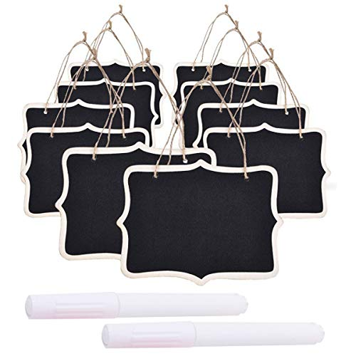 (10 Pack Mini Double Sided Hanging Chalkboard Signs with 2 White Ink Blackboard Pen, Vintage Erasable Message Board with Hanging String for Weddings Party Kitchen)