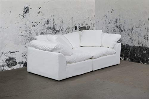 Sunset Trading SU-1458-81-2C Cloud Puff 2 Piece Modular Performance White Sectional Slipcovered Sofa, Moisture Resistant Fabric,