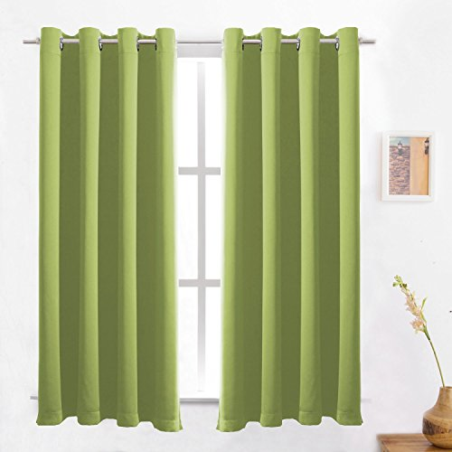 Fresh Green Blackout Curtains Solid Thermal Insulated Panel Energy Efficient Light/Room Darkening Window Treatment Drapes 2 Panels Set for Bedroom 52