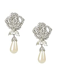 Ever Faith Austrian Crystal Cream Simulated Pearl Rose Flower Teardrop Clip-on Earrings Clear