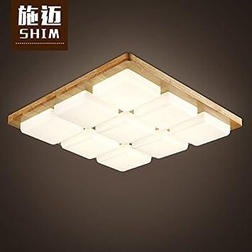 9 square solid wood Log Wohnzimmer Lampe nordische Atmosphäre ...