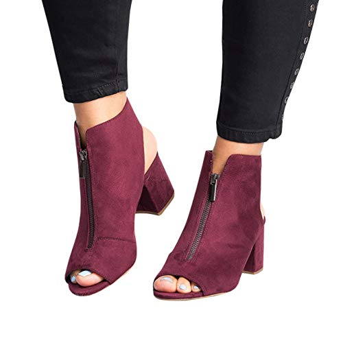 Womens Open Toe Booties Chunky Heels Cutout Sandals Stacked Block Heeled Ankle Strap Shoes