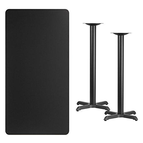 Dyersburg 30'' x 60'' Rectangular Black Laminate Table Top w/42 H X-Base