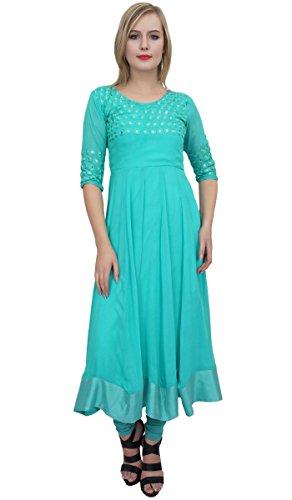 Atassi Concepteur De Broderie Bleu Casual Georgette Anarkali Vêtements Femme Costume - 20