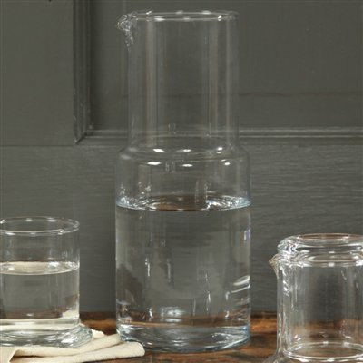Homart Tall Glass Bedside Carafe with Cup, 34 (Bedside Carafe)