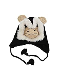 Motique Accessories Wool Fleece Lined Trapper Beanie Cap Animal Hat for Kids