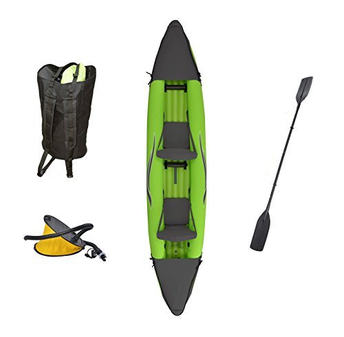 Person 2 Canoe Inflatable - Outdoor Tuff Stinger 4 OTF-4252PK Inflatable Two-Person Sport Kayak with Rotatable Paddle, 425-Pound Capacity