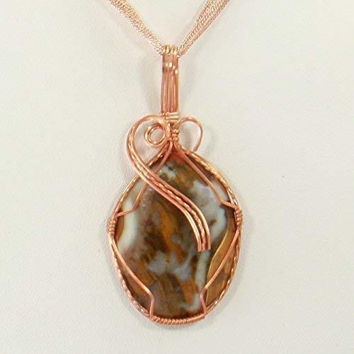 Amazon Com Natural Agate Gemstone Copper Pendant Wire Wrapped