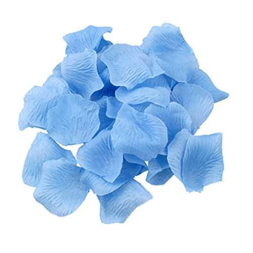 Shatchi 100 Light Blue Quality Silk Rose Petals Confetti Birthday, Anniversary Wedding Party Decorations