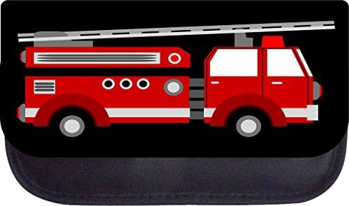 Red Firetruck Lea Elliot TM Black Nylon-Lined Pencil Case