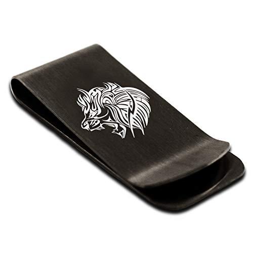 Matte Black Stainless Steel Tribal Lion Money Clip Credit Card Holder