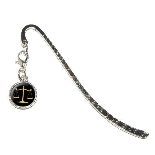 Graphics and More Balanced Scales of Justice Symbol Legal Lawyer Gold and Black Metal Bookmark Page Marker with Charm (CHARM_BOOK_0291)