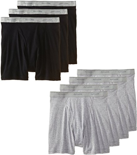 Fruit of the Loom Men's Boxer Brief(Pack of 7) (Black & Grey, Small) (Fruit Of The Loom Boxer Briefs 5 Pack)