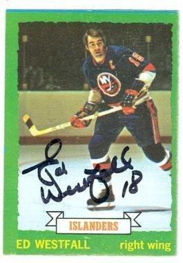 - Ed Westfall autographed hockey card (New York Islanders) 1973 Topps #67 - NHL Autographed Hockey Cards