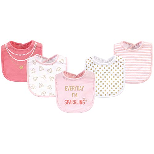 (Little Treasure Kid's Cotton Drooler Bibs Accessory, Sparkling 5 Pack, One Size)