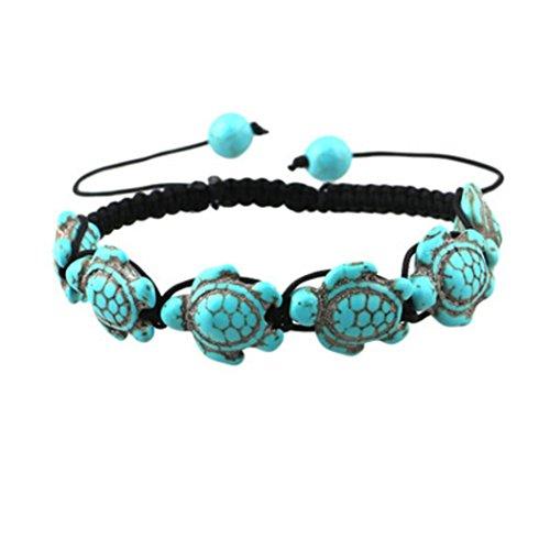 - Celendi_ Jewerly Fashion Style Turtle Fish Bear Turquoise Pendant Bracelet Beaded Bohemian Bangle