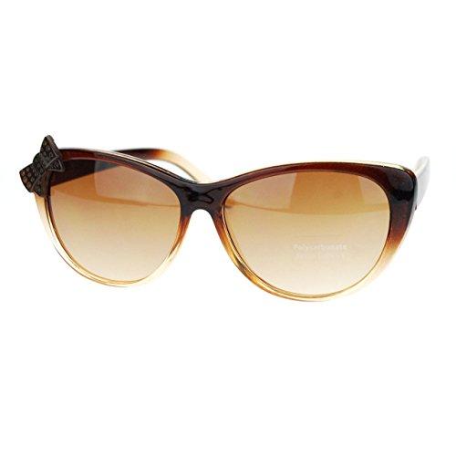 Womens Ribbon Bow Trim Cat Eye Cutie Sunglasses - Bow Sunglasses