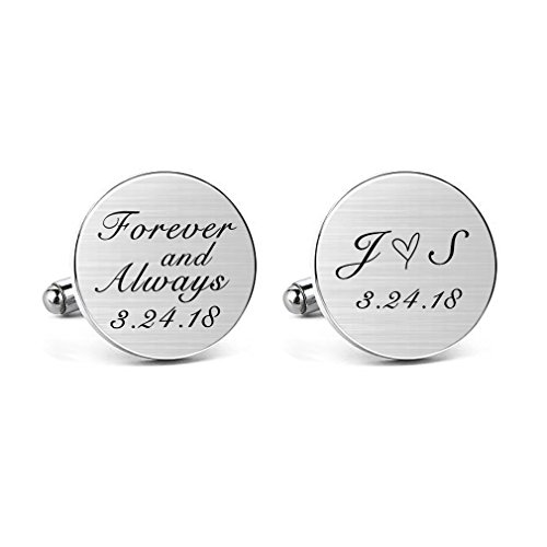 MUEEU Wedding Cufflink Engraved Forever & Always Custom Date Round Square Groom Tie Clip Tack (Round -