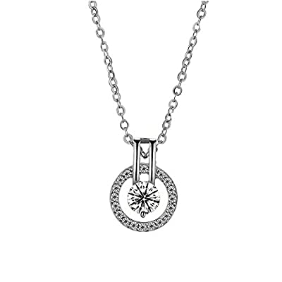 "18k Platinum or Rose Gold Plated Austrian Crystal Circle Necklace Pendant with 18"" Chain"