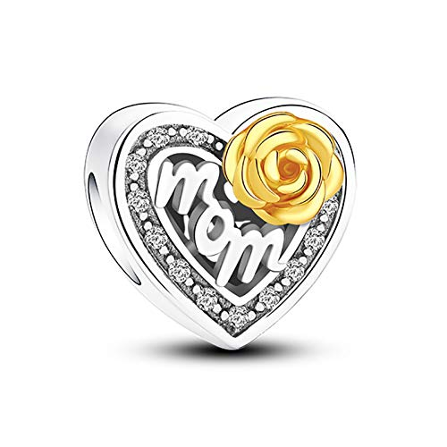 (Glamulet 925 Sterling Silver Gorgeous Rose for Mom Heart Shaped Charms with Gold Rose, Charms for Bracelet)