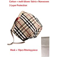 Dustproof Cotton melt-blown nonwoven 3 Layers Protection Face Cover Mouth mask Cotton Washable Mask (1-GridS+10pcsfilter)