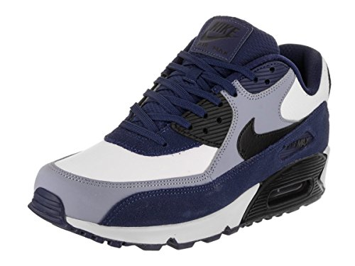 NIKE Men's Air Max 90 Leather Running Shoes, Blue VoidBlack Ashen Slate, 11