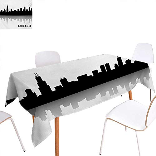 familytaste Chicago Skyline Customized Tablecloth Downtown Skyscrapers Illinois Tourism Travel Country Urban Minimalist Stain Resistant Wrinkle Tablecloth 60