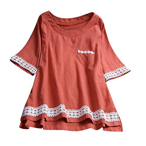 HYIRI Womens Casual Plus Size Loose Linen Softstyle Sleeve Lace Button Tanic Shirt Blouse Orange (Superman Footie Pajamas For Women)