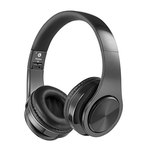 Bluetooth Headphones Over Ear, Hi-Fi Stereo Wireless Headset, Foldable, Soft Memory-Protein Earmuffs, w/Built-in Mic and Wired Mode for PC/Cell Phones/TV (Black)