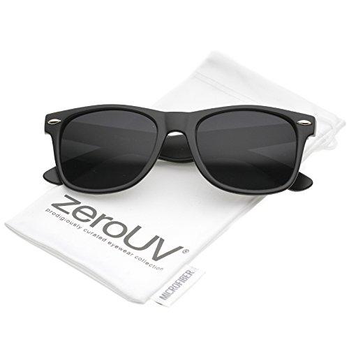 zeroUV - Retro Wide Arm Neutral Colored Lens Horn Rimmed Sunglasses 55mm (Matte Black / Smoke) (Cheap Coloured Contact Lenses)