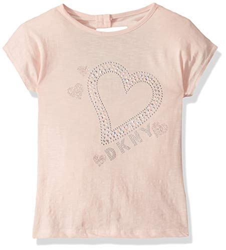 DKNY Girls' Big Short Sleeve Printed Fashion T-Shirt, Glitter Heart English Rose, 14/16 ()
