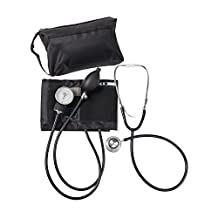 MABIS MatchMates Aneroid Sphygmomanometer and Dual Head Stethoscope Combination Home Blood Pressure Kit with Calibrated Nylon Cuff, Black