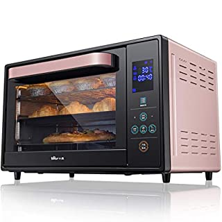DLT 30L 3-Layer Smart Oven, 1600W Convection Toaster Roaster Oven with Pot Holders, Countertop Oven Stainless Steel 6-Slice Bread, 12-Inch Pizza, Pink, Black