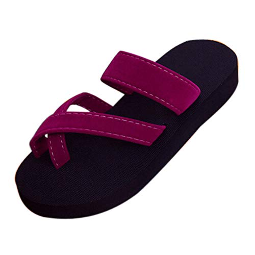 (2019 Hot Retro Womens Summer Flip Flops Casual Slippers Flat Sandals,Wine,40,United States)