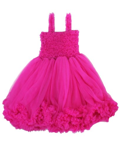 (RuffleButts Girls Toddler Chiffon Fuchsia Princess Petti Dress - 8/9)