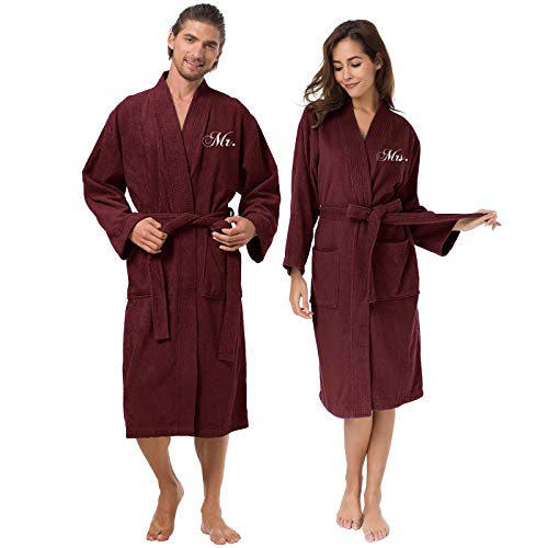 AW Cotton Robes for Couple Burgundy Embroidery Terry Bathrobes Unisex Mr and Mrs Hotel Robes Warm Long ()