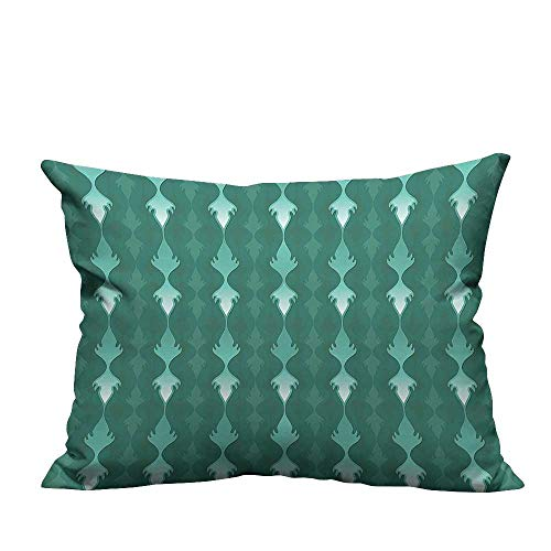 (YouXianHome Home Decor Pillowcase Abstract Vertical Curvy Lin Ornament Tablecloth Fabric Style Green Durable Polyester Fabric(Double-Sided Printing) 24x24 inch )