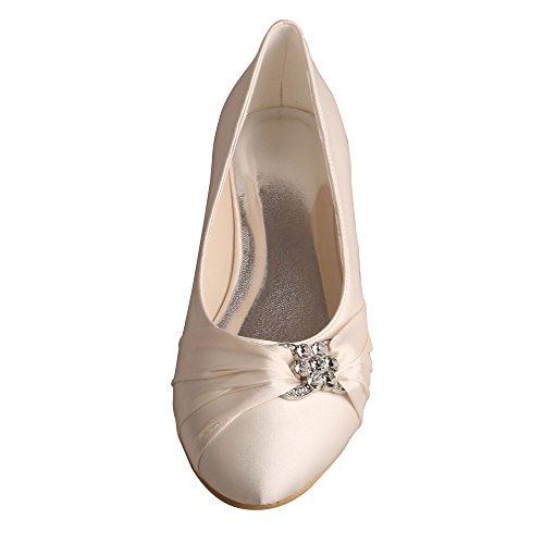 Wedopus Mw757 Femmes Plissées Fermé Orteil Ballet Chaussures De Mariage En Satin Plat Pour Mariée Ivoire