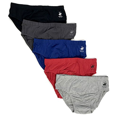 Beverly Hills Polo Club Men's 5 Pack Low Rise Brief, Black/Charcoal/Grey Heather/Red/Blue, Large